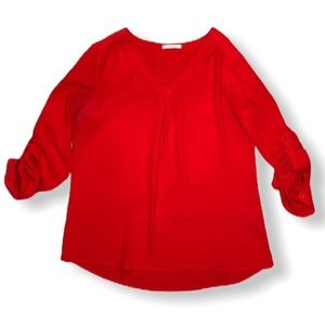 41 Hawthorn Red V Neck Rolled 3/4 Sleeve Blouse